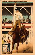 Six Linen Postcards Cowboy Rodeo Contestants Stryker Fort Worth Texas138307