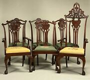 An Extraordinary Set Of Late 19th Century Six Carved Mahogany Dining Chairs.