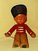 Celluloid Doll Soldier Boy Uniform Red Yellow Hat Staff Vintage 10 Inch As Is