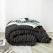 Winter Warm Chunky Knit Blankets Hand Knot Cozy Plaid On The Sofa Bed Chenille