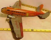 Marx Tin Lithographed Wind Up Air Mail Airplane 990-5 Two Engine Working Toy