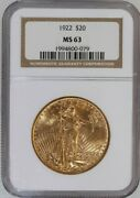 1922 Saint-gaudens 20 Dollar Gold Double Eagle Certified Ngc Ms-63