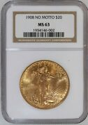 1908 No Motto Saint-gaudens 20 Dollar Gold Double Eagle Certified Ngc Ms-63