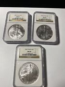 2005/2006/2007 American Silver Eagle Ngc Ms 69 Brown Label 3 Total