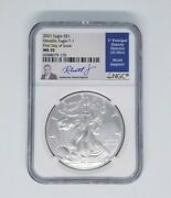 2021 Silver Eagle Ngc Ms70 T1 First Day Of Issue - Rhett Jeppson Signed 1933 Pop