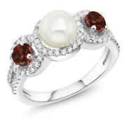 1.54 Ct Round Cultured Freshwater Pearl Red Garnet 925 Sterling Silver Ring