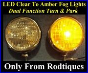 Led Clear To Amber Turn Signal / Park Driving Chrome Fog Lights Universal Ford