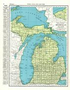 1947 Antique Michigan State Map Gallery Wall Art Vintage Map Of Michigan 8909