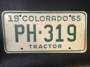 Vintage License Plate 1965 Colorado Tractor Tag Nos U.s. Shipping Only