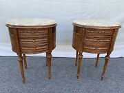 Vintage Antique Style Pr. Of Carved Wood Marble Top End Side Tables Night Stands