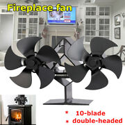 Double-headed 4 And10-blade Thermal Ecological Fireplace Fan Wood Stove Log Burner