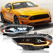 For Ford Mustang 18-20 Amber Reflector Full Led Headlights With Dynamic Drl/turn