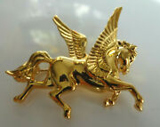 Vintage Signed Monet Rare Cold Olated Pegasus Winged Horce Pin Brooch