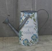 New French Country Cottage Blue Dragon Fly Flower Garden Watering Can Bucket