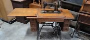 1900and039s Vintage Singer Original Treadle Sewing Table With Sewing Machineandnbsp