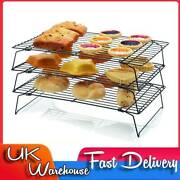 3x Stackable Metal Wire Cake Bread Biscuit Baking Cooling Tray Rack Kitchen Tool