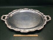 Huge Vintage Towle Epca Silverplate Footed Butler Service Serving Tray 20 X 30