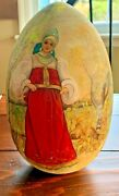Russian Hand Painted Egg Icon Signed Large 9 Tall Vintage