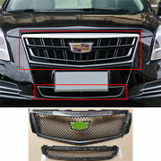 For Cadillac Xts 2018-2020 Abs Carbon Fiber Front V-sports Grille Grill Trim 2x