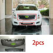 For Cadillac Xts 2013-2017 Abs Black Front V-type Grille Grill Cover Trim 2pcs