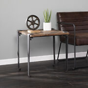 Industrial End Table Telephone Stand Rustic Reclaimed Wood Top Finish Metal Legs