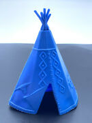 Vintage Marx Original Early 1950and039s 60mm Hard Plastic Tepee In Blue
