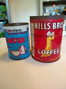 Lot Of Two Vintage Coffee Cans Hills Bros And Thorofare