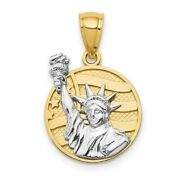 14k Gold Two-tone Small Lady Liberty On American Flag Disk Pendant 21x13.5mm