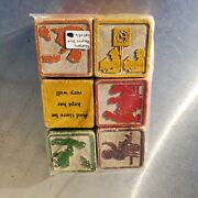 Wood Blocks Alphabet Picture Wooden Animals Letters Antique Collection Ca. 1920s