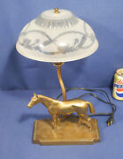 Vintage Antique Signed Frankart Lamp Brass Horse Rare And Hard To Find Working