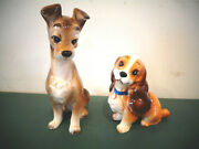 Disney Set Of 2 Lady And The Tramp Ceramic Pottery Porcelain Figurines Japan