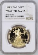 1987 Gold American Eagle 2 Coin Proof Set Ngc Pf70 And Pf69 Ultra Cameo Mint Box.