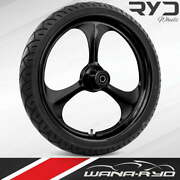 """Ryd Wheels Amp Blackline 23 X 5.0"""" Fat Front Wheel And Tire Package 00-07 Bagger"""