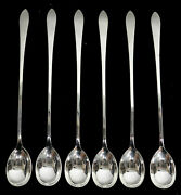 And Co Faneuil 6 Sterling Silver 7 3/8 Iced Tea Spoons