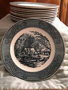 10 Currier And Ives Royal China Blue Old Grist Mill Dinner Plates
