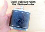 Jack Daniels Flask  Stainless Leather Wrap 5oz. Tight Seal Used