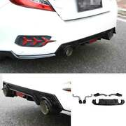 For Civic 16-20 Abs Cf Honeycomb Rear Bumper Diffuser Spoiler Bodykit With Pipe