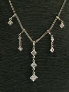 Vintage Old European Diamond Drop Necklace 14kt White Gold 16 .88ct