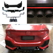 Abs Black Rear Bumper Lip Cf 3-outlet Pipe Bodykit 1.5t For Honda Civic 16-2020