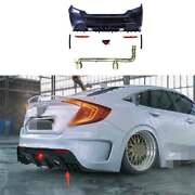 Rear Bumper Diffuser Lip 2-outlet Pipe Unpainted Fit For Civic 1.0t Ms 2016-2021