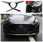 Glossy Black Front Grill Barbecue Side Strip Cover Trim For Mazda3 Axela 19-2021
