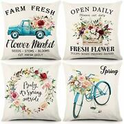 Spring Throw Pillow Covers 18x18 Inch Set Of 4 Farmhouse Spring Home Decorations