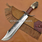 John Henry Hand Forged Rail Road Carbon Steel Bowie Knife Crown Stag Horn