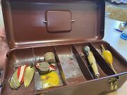 Vintage The Foster Fishing Tackle Box , Lures , Fishing Reel