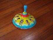 Vtg 1960s Ohio Art Tin Spinning Top Toy Ten Little Indian Boys U.s.a. - Works