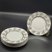 Alfred Meakin England Glo-white 8 Pc Bread Plate Set White Gold Silver