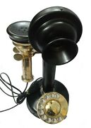 Vintage Antique Rotary Dial Phone Brass Finish Table Decorative Telephone Replic