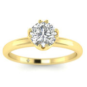 0.8ct D-si1 Diamond Antique Engagement Ring 18k Yellow Gold Any Size