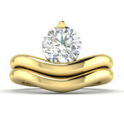 0.8ct D-si1 Diamond Bridal Set Engagement Ring 14k Yellow Gold Any Size