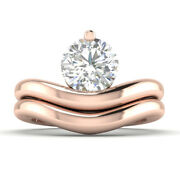 0.8ct D-si1 Diamond Round Engagement Ring 14k Rose Gold Any Size